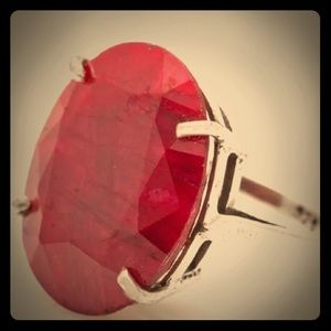Large unfinished Red Ruby ring